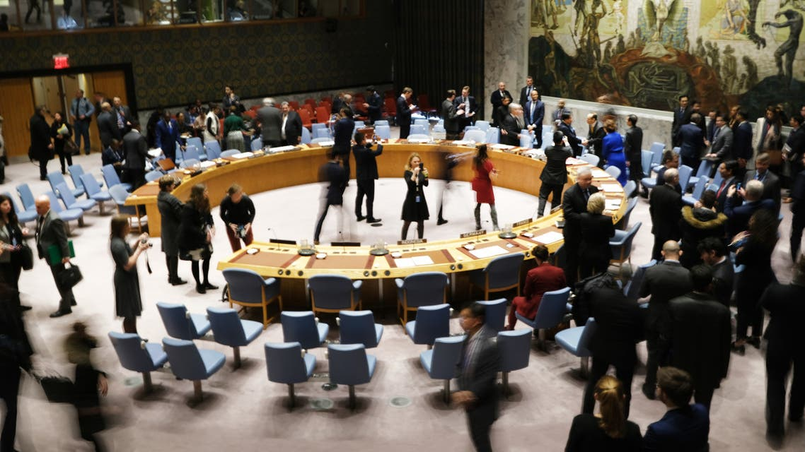 NEW YORK, NEW YORK - JANUARY 09: Members of the United Nations (UN) Security Council participate in a meeting titled Maintenance of International Peace and Security on January 09, 2020 in New York City. Representatives from over 50 nations voiced their concerns about ongoing conflicts in the world including recent tensions between Iran and America. Spencer Platt/Getty Images/AFP