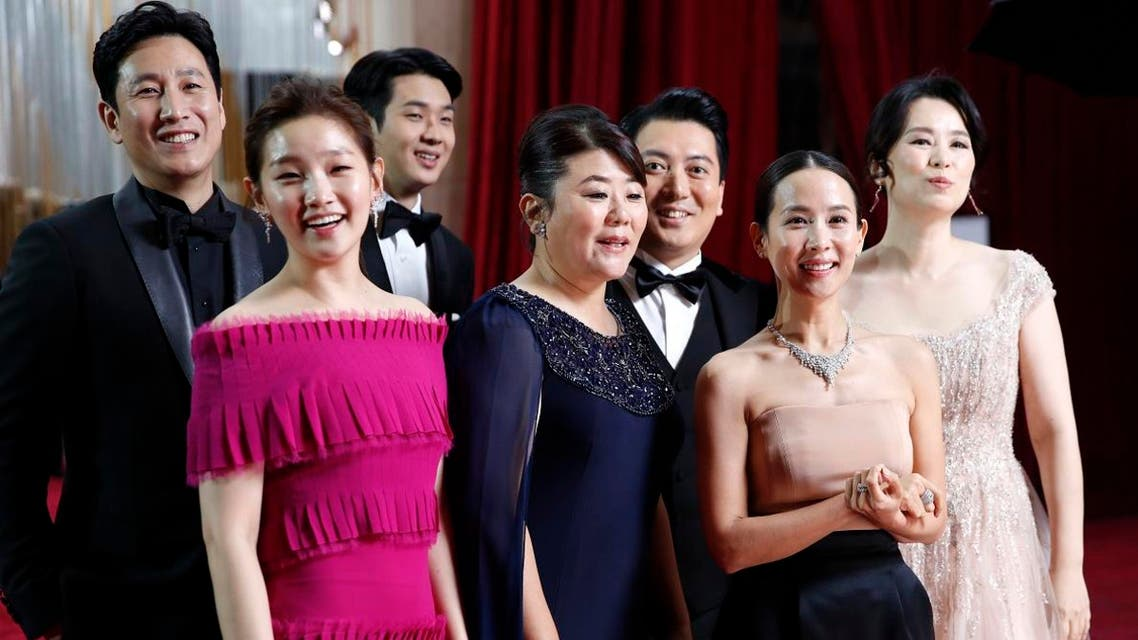 "The cast of ""Parasite"" arrives at the Oscars on Sunday, Feb. 9, 2020, at the Dolby Theatre in Los Angeles. (Photo: AP)"