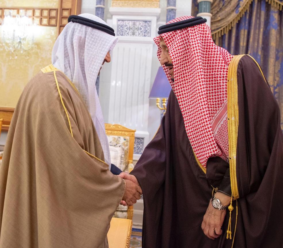 Saudi Arabia's King Salman bin Abdulaziz meets with the Secretary-General of the Gulf Cooperation Council Nayef al-Hajraf. (SPA)