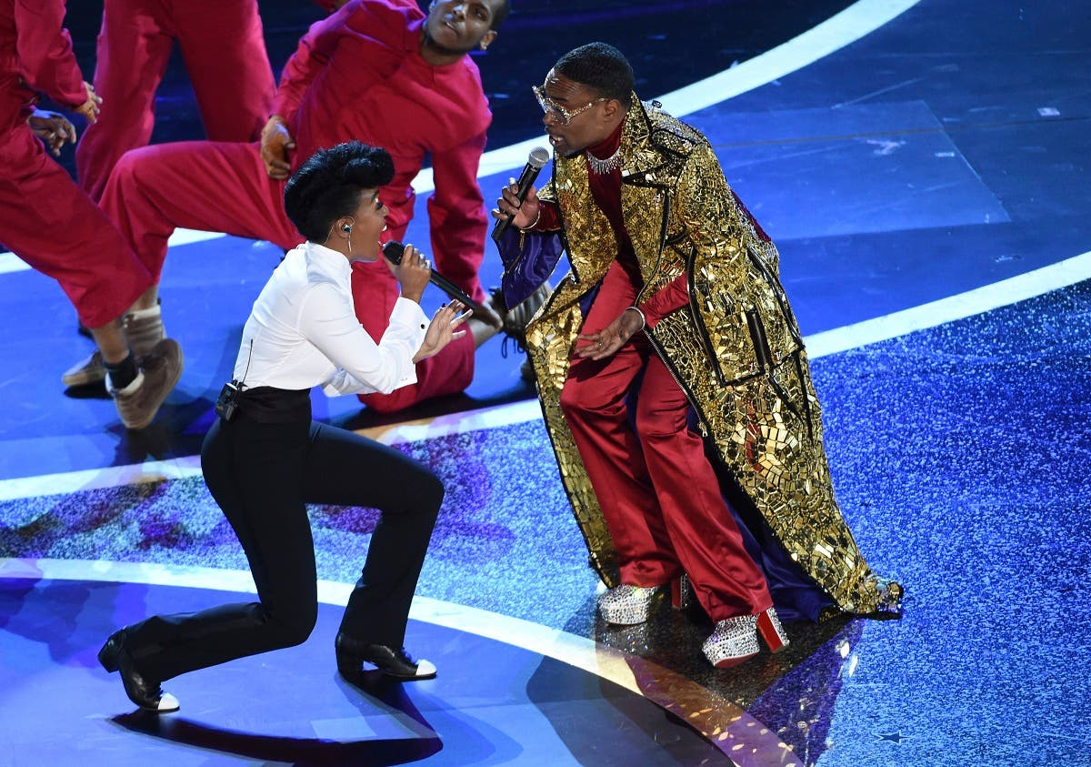 Janelle Monae (left), and Billy Porter perform onstage at the Oscars on February 9, 2020, at the Dolby Theatre in Los Angeles. (AP)