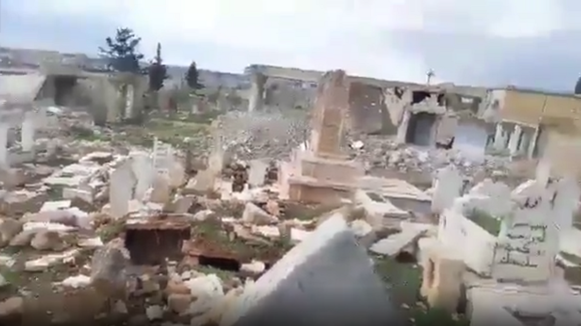 Videos show destroyed graves in Syrian town of Khan al-Sabil. (Screen grab)