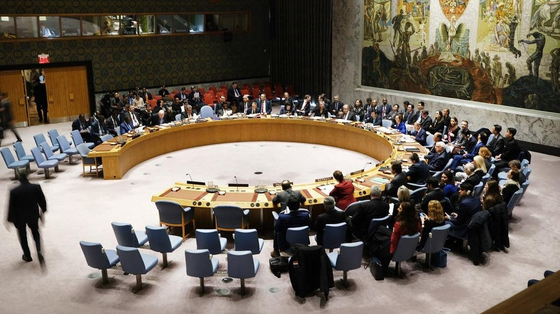 """embers of the United Nations (UN) Security Council participate in a meeting titled """"Maintenance of International Peace and Security"""" on January 09, 2020 in New York City. (AFP)"""