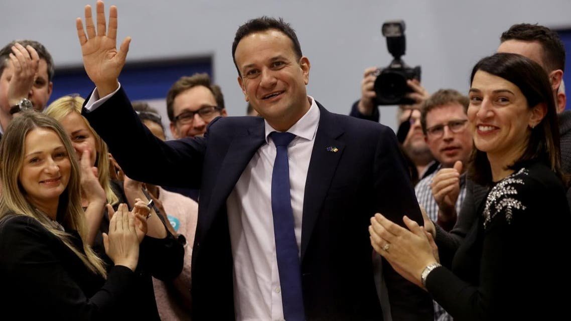 Irish Prime Minister Leo Varadkar reacts after the announcement of voting results, at a count centre during Ireland's national election, in Citywest, near Dublin, Ireland,