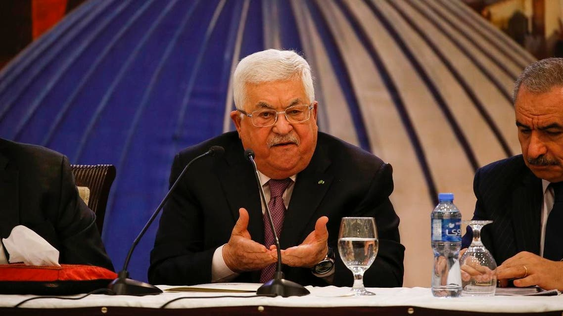 Palestinian president Mahmud Abbas gestures as he delivers a speech in the West Bank city of Ramallah on January 28, 2020, following the announcement by US President Donald Trump of the Mideast peace plan. (AFP)