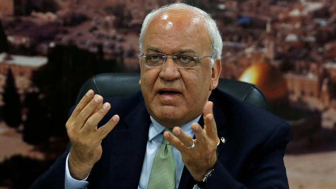 Chief Palestinian Negotiator Saeb Erekat gestures as he speaks to the media in Ramallah, in the Israeli-occupied West Bank July 1, 2019. Picture taken July 1, 2019. REUTERS/Mohamad Torokman
