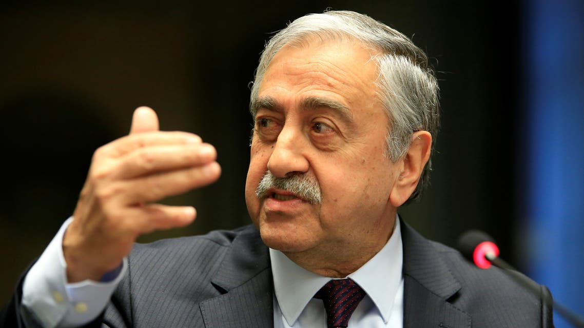 Turkish Cypriot leader Mustafa Akinci speaks during a news conference in Geneva, Switzerland January 13, 2017. REUTERS/Pierre Albouy