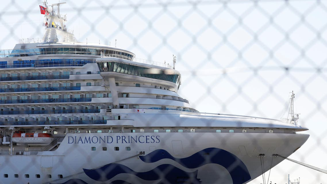 The cruise ship Diamond Princess, where dozens of passengers were tested positive for coronavirus, is seen through steel fence in Yokohama, south of Tokyo, Japan, February 11, 2020. (Reuters)