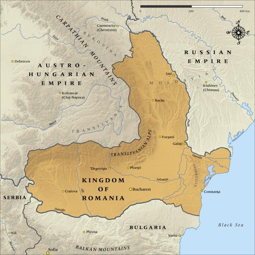 خريطة رومانيا سنة 1916