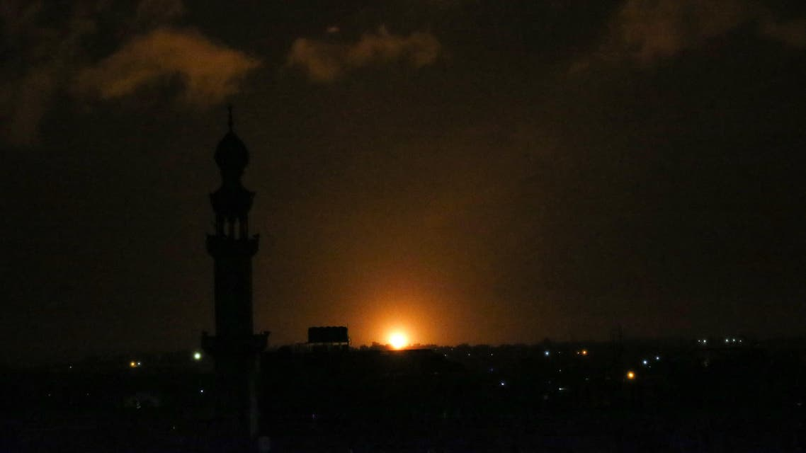 A ball of fire is seen following an Israel airstrike at Khan Yunis in the southern Gaza Strip early on February 10, 2020. (AFP)