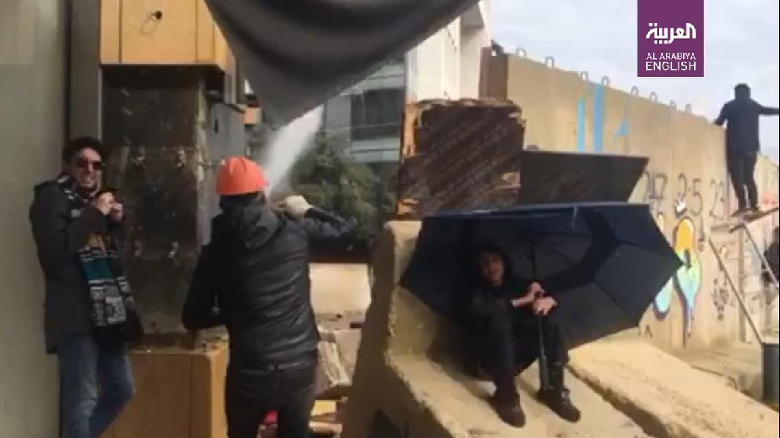 THUMBNAIL_ Lebanese protester throws rocks and plays cat and mouse with security forces in Beirut, Feb 11, 2020