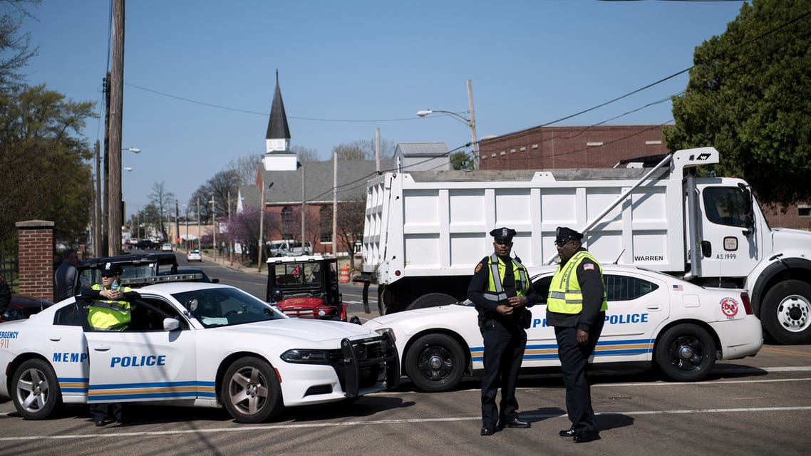 Police stand near a roadblock before a labor march on the 50th anniversary of the assassination of Martin Luther King Jr. April 4, 2018 in Memphis, Tennessee.
