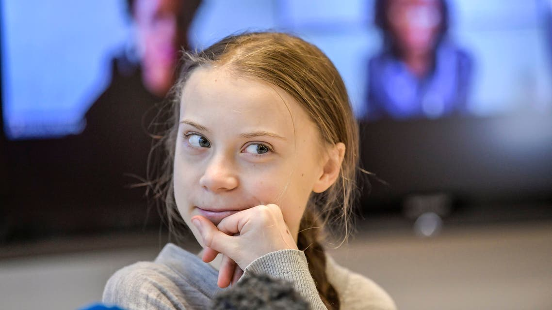 Swedish climate activist Greta Thunberg gives a press conference during a meeting with climate activists and experts from Africa focusing on key environmental threatening of the continent, on January 31, 2020 in Stockholm.