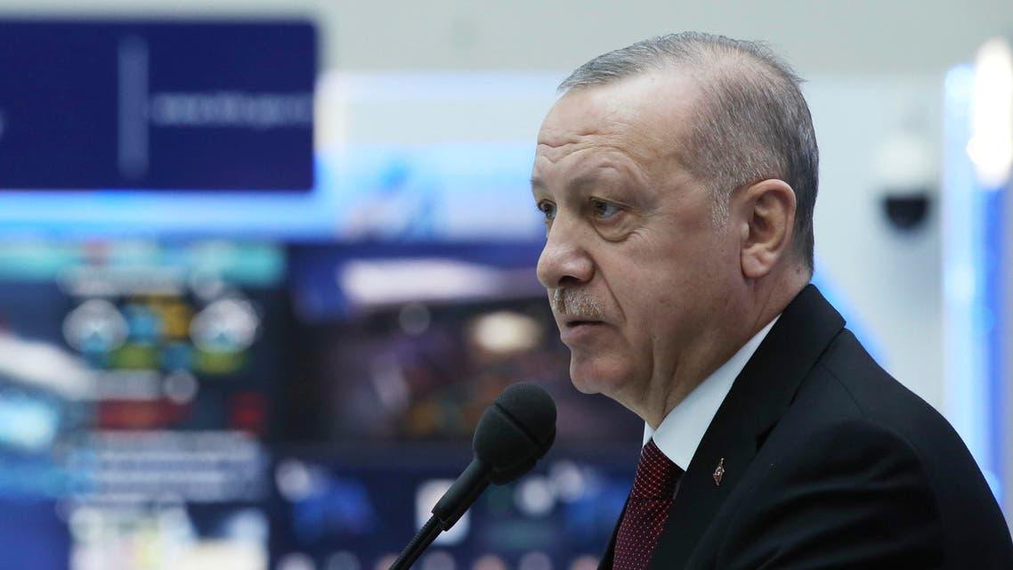 Turkey's President Recep Tayyip Erdogan speaks during a meeting in Ankara on Feb. 10, 2020.  (AP)