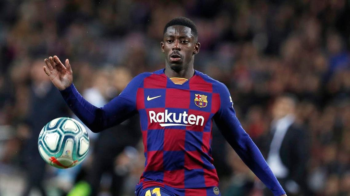 Barcelona's Ousmane Dembele during a Spanish La Liga match between Barcelona and Celta at the Camp Nou stadium in Barcelona, Spain. (AP)