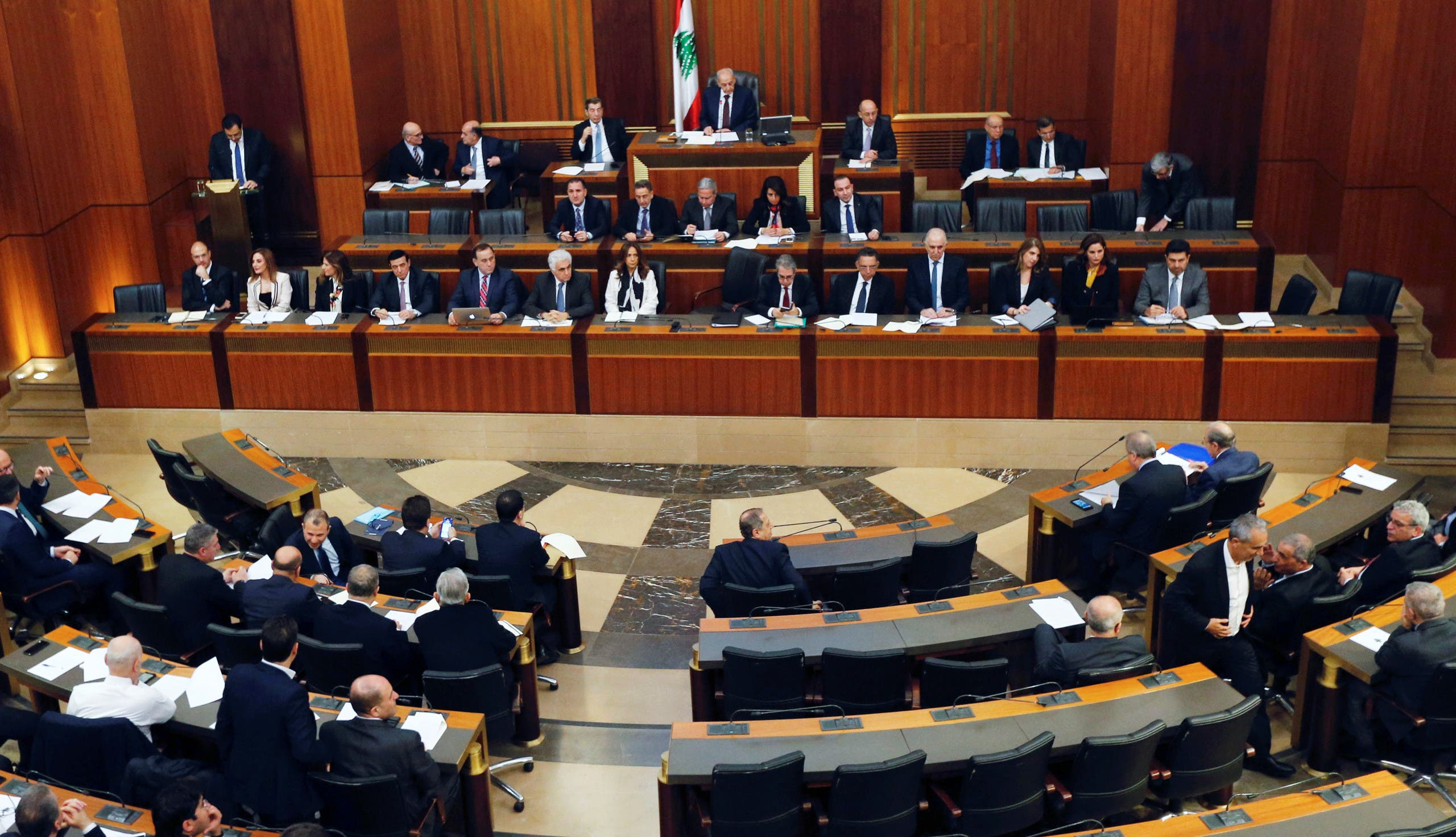 Lebanese Prime Minister Hassan Diab, presents his government's policy statement to parliament during a session for a vote of confidence in Beirut, Lebanon February 11, 2020. (Reuters)