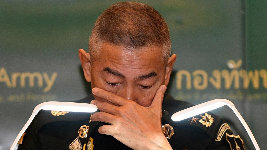 Thai army chief Apirat reacts during a news conference in Bangkok following last weekend's shooting rampage in Nakhon Ratchasima. (Reuters)
