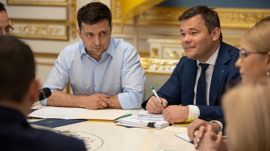 President of Ukraine Volodymyr Zelenskiy (L) and his lawyer and adviser Andriy Bogdan (R) attend a meeting with lawmakers in Kiev, Ukraine May 21, 2019. Ukrainian Presidential Press Service/Handout via REUTERS ATTENTION EDITORS - THIS IMAGE WAS PROVIDED BY A THIRD PARTY.