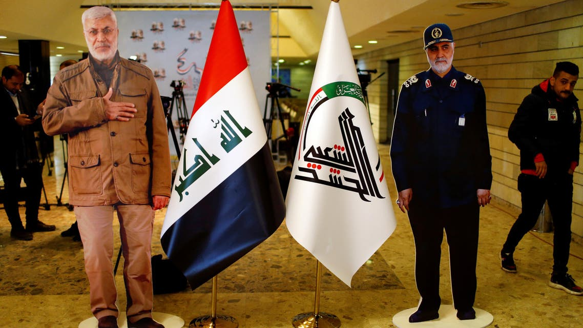 Cardboard cutouts of the late Iran's Quds Force top commander Qassem Soleimani and Iraqi militia commander Abu Mahdi al-Muhandis who were killed in a U.S. air strike at Baghdad airport, are seen during the forty days memorial in Baghdad, Iraq February 11, 2020. (Reuters)