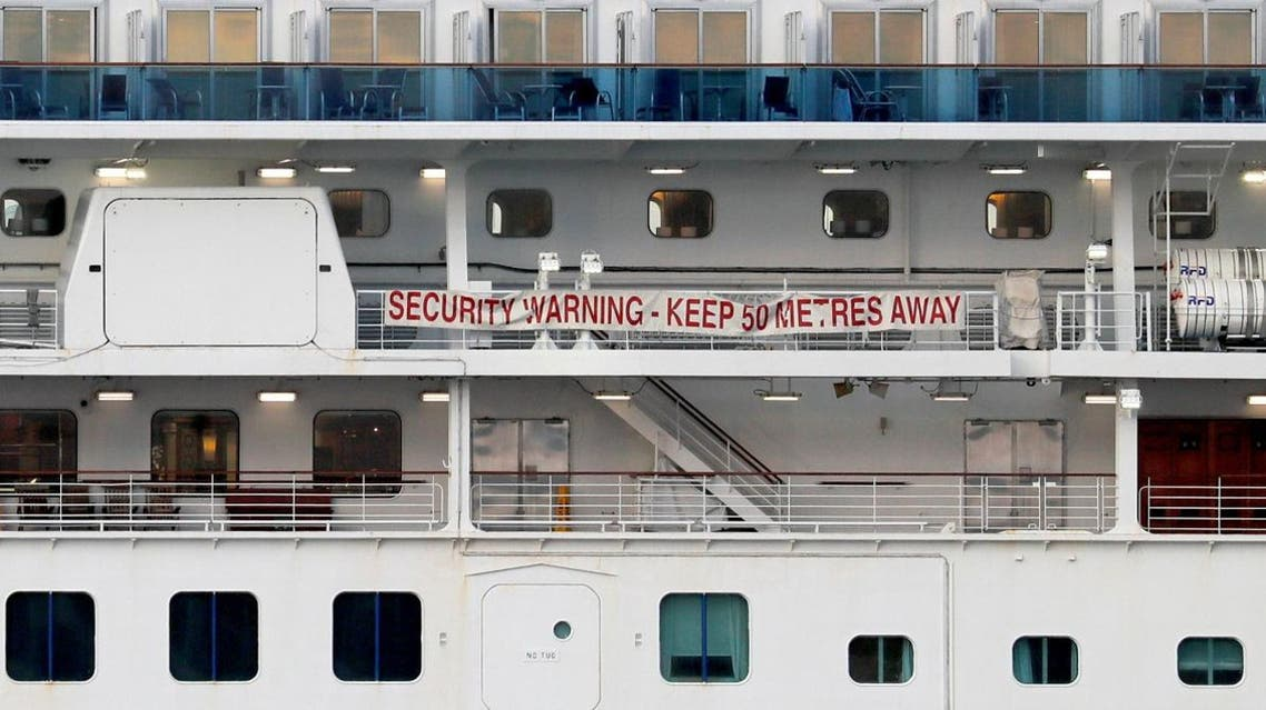 A banner is seen on the cruise ship Diamond Princess at Daikoku Pier Cruise Terminal in Yokohama, south of Tokyo, Japan February 12, 2020. (Photo: Reuters)
