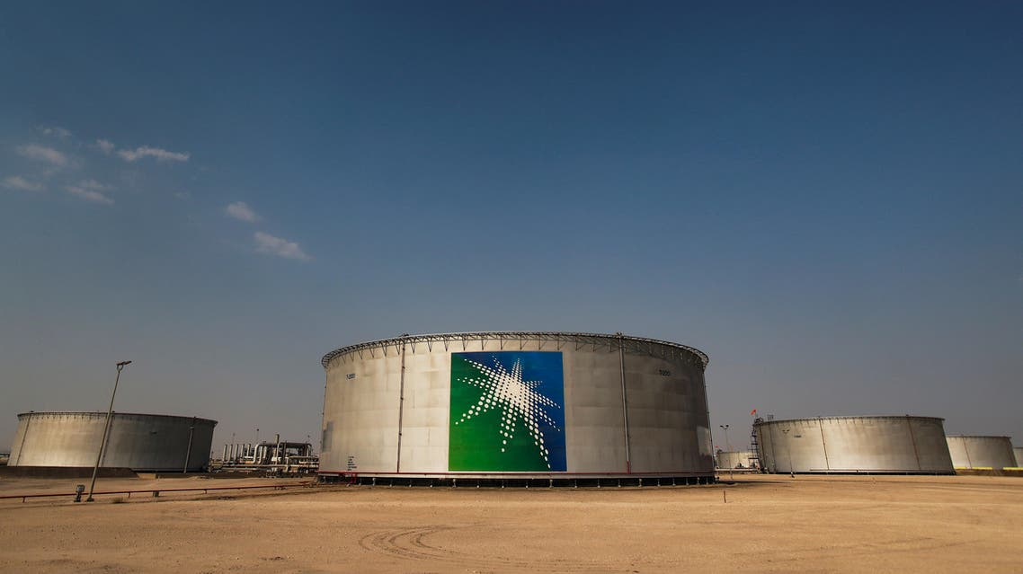 A view shows branded oil tanks at Saudi Aramco oil facility in Abqaiq, Saudi Arabia, on October 12, 2019. (Reuters)