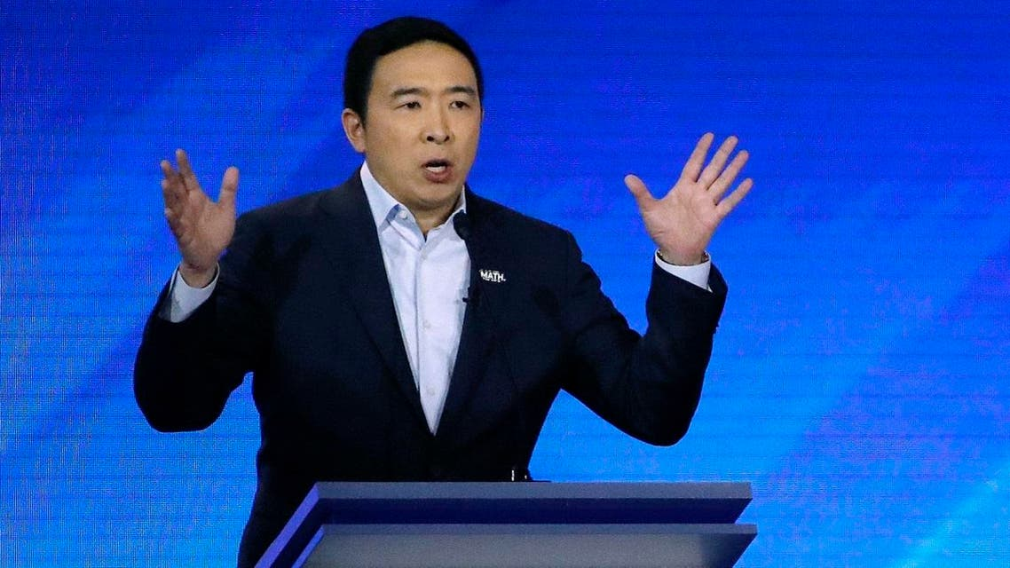 Andrew Yang speaks during a Democratic presidential primary debate at Saint Anselm College in Manchester, N.H. (AP)
