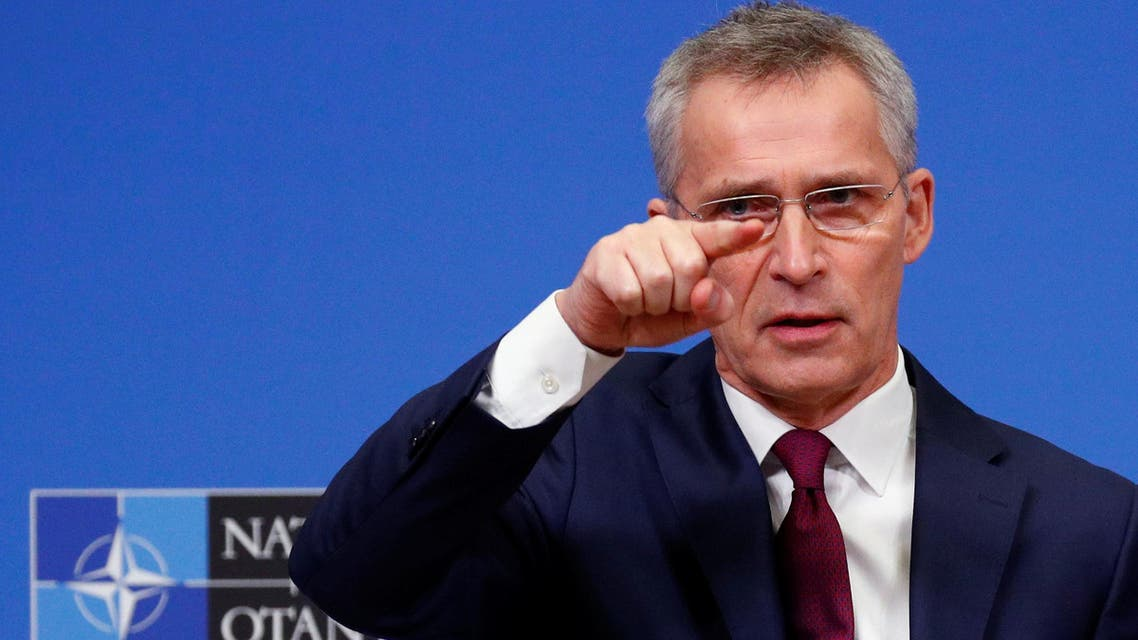 NATO Secretary General Jens Stoltenberg holds a news conference ahead of a NATO defence ministers meeting at the Alliance headquarters in Brussels, Belgium February 11, 2020. (Reuters)