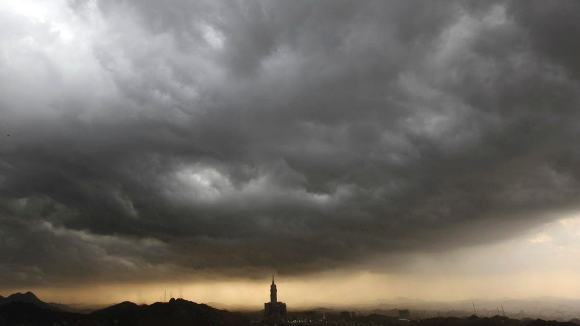 Clouds gather over the four-faced Mecca Clock Tower, during the annual haj pilgrimage in the holy city of Mecca October 21, 2012. (Reuters)