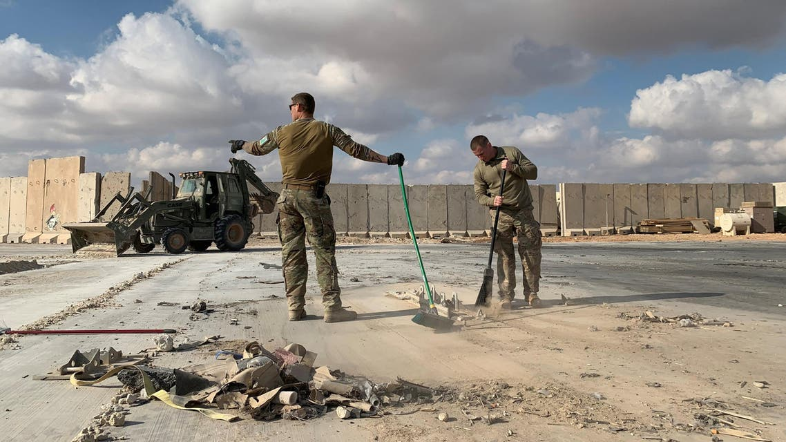 US soldiers clearing rubble at Ain al-Asad military airbase in the western Iraqi province of Anbar on January 13, 2020. (File photo: AFP)