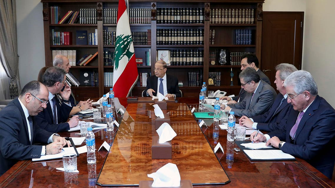 Lebanese President Michel Aoun, center, meets with political and financial officials to discuss the economic situation on Feb. 13, 2020. (Photo: AP)