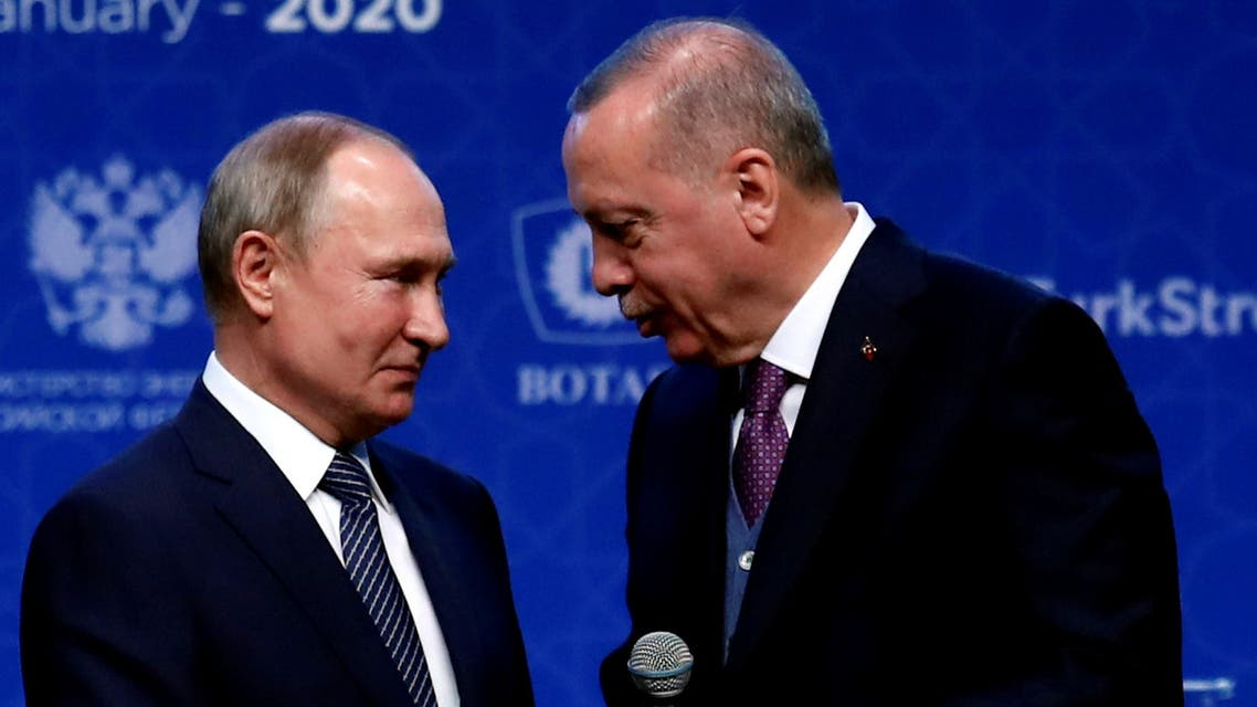 Turkish President Tayyip Erdogan and Russian President Vladimir Putin attend a ceremony marking the formal launch of the TurkStream pipeline. (File Photo: Reuters)
