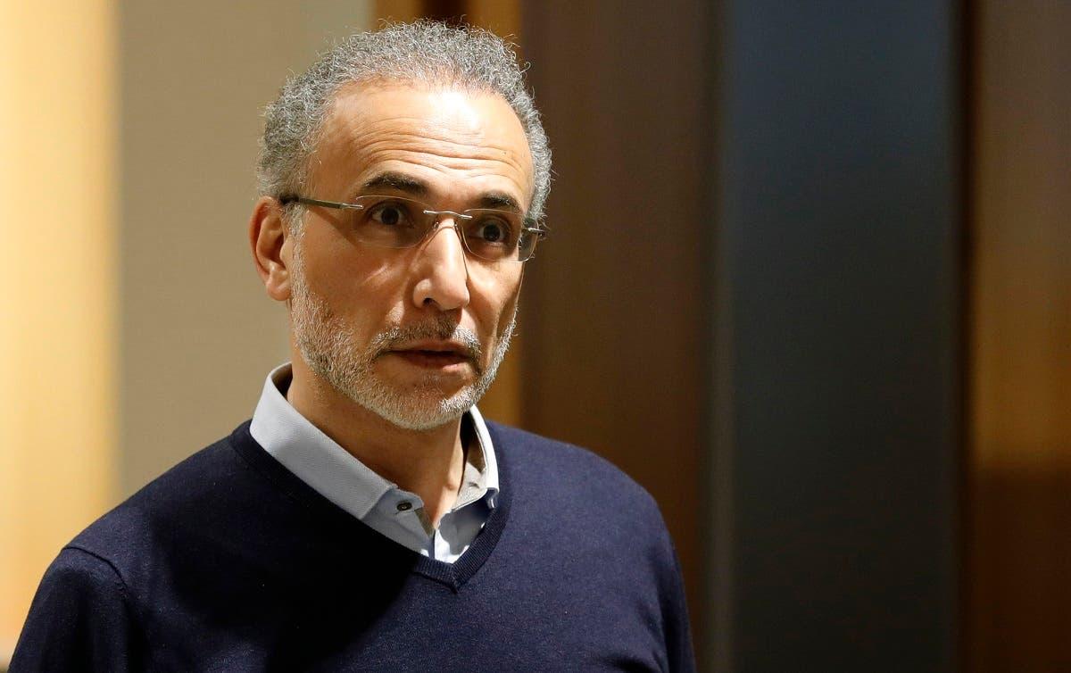 Swiss leading Islamic scholar Tariq Ramadan arrives at the Palais de Justice (Law Court) of Paris, on February 13, 2020. (AFP)
