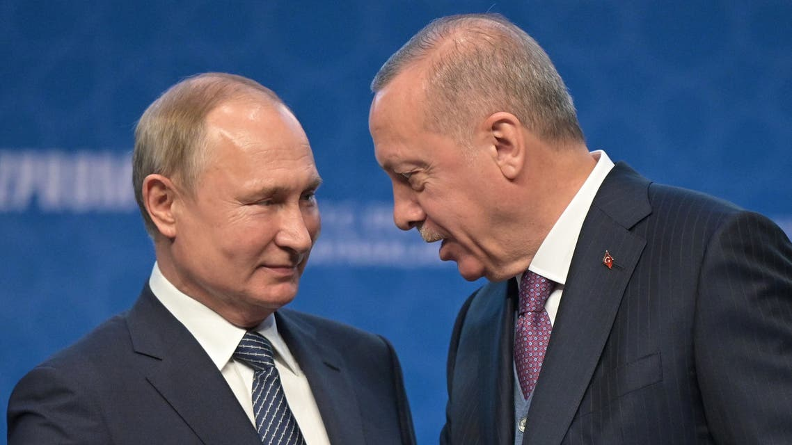 Turkish President Tayyip Erdogan and Russian President Vladimir Putin attend a ceremony marking the formal launch of the TurkStream pipeline which will carry Russian natural gas to southern Europe through Turkey, in Istanbul, Turkey, January 8, 2020. REUTERS/Umit Bektas
