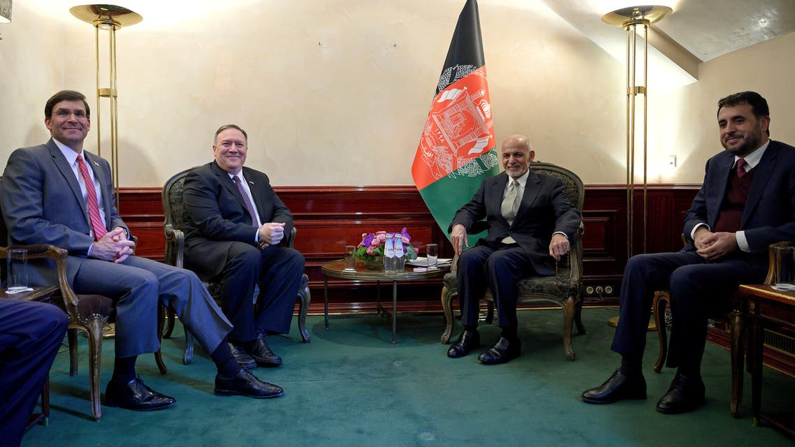 U.S. Secretary of State Mike Pompeo (2nd L) meets with Afghan President Ashraf Ghani, together with U.S. Secretary of Defense Mark Esper (L) and Acting Minister of Defense of Afghanistan Asadullah Khalid (R), during the Munich Security conference in Munich, southern Germany February 14, 2020. Andrew Caballero-Reynolds/Pool via REUTERS