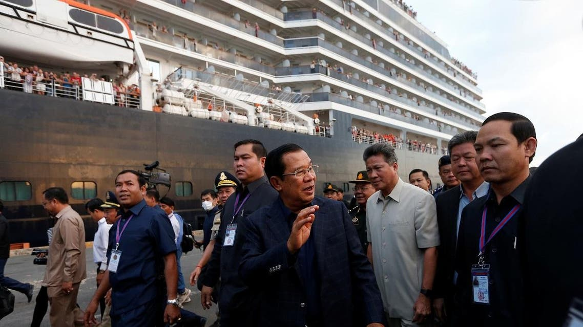 Cambodia's Prime Minister Hun Sen welcomes the passengers and crews of MS Westerdam as it docks in Sihanoukville, Cambodia February 14, 2020. (Reuters)