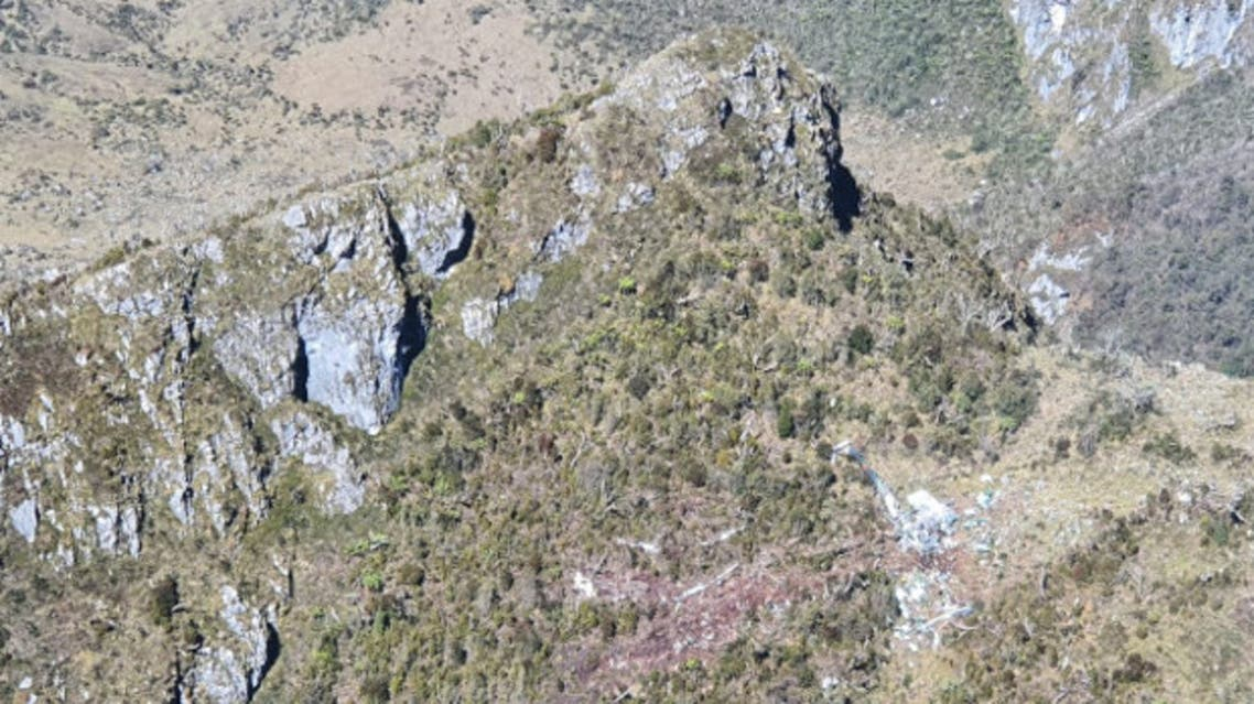صورة جوية للمنطقة التي تحطت بها المروحية