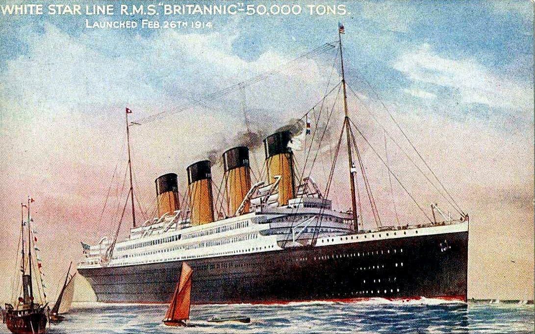 رسم ترويجي دعائي لسفينة بريتانيك عند انزالها بالماء