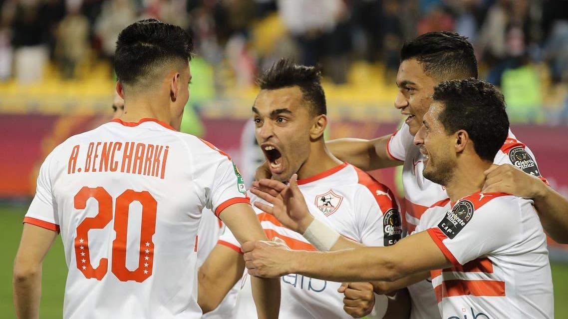 Zamalek's player Achraf Bencharki celebrates his goal with teammates during the CAF Super Cup football match between Tunisia's Esperance and Egypt's Zamalek at Thani bin Jassim Stadium in al-Rayyan Qatar, on February 14, 2020. (AFP)