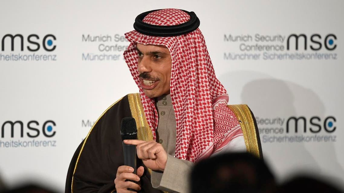 The Foreign Minister of Saudi Arabia Prince Faisal bin Farhan Al Saud attends a panel discussion during the 56th Munich Security Conference (MSC) in Munich, southern Germany, on February 15, 2020. (AFP)