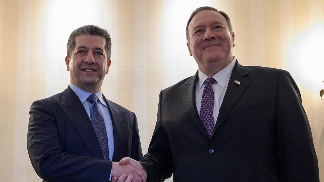 US Secretary of State Pompeo (R) shakes hands with Kurdistan Regional Government Prime Minister Barzani during the Munich Security conference in Munich on February 14, 2020. (AFP)