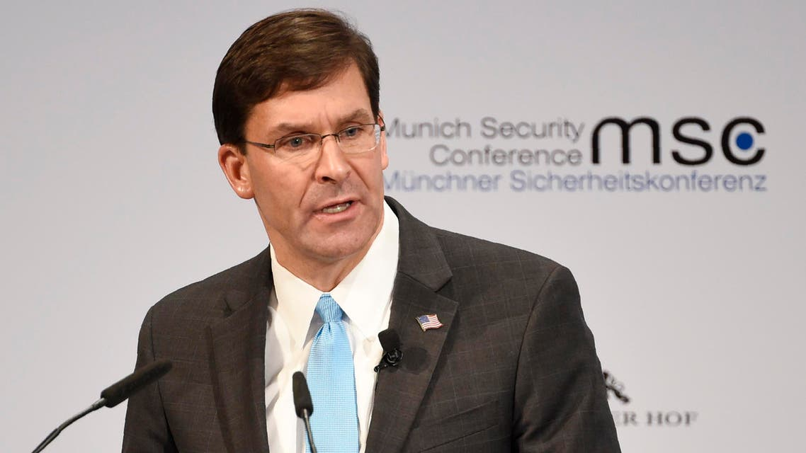 US Secretary for Defense Mark Esper speaks on the second day of the Munich Security Conference in Munich. (AP)