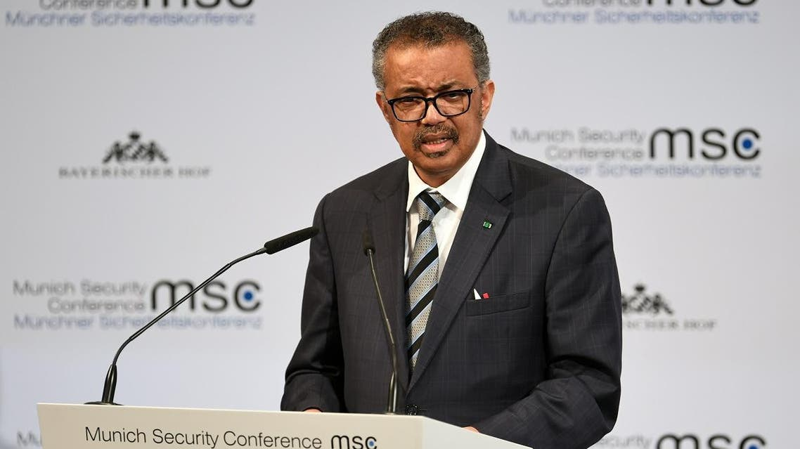 Director-General of the World Health Organization (WHO) Tedros Adhanom Ghebreyesus speaks at the annual Munich Security Conference in Germany February 15, 2020. (Reuters)
