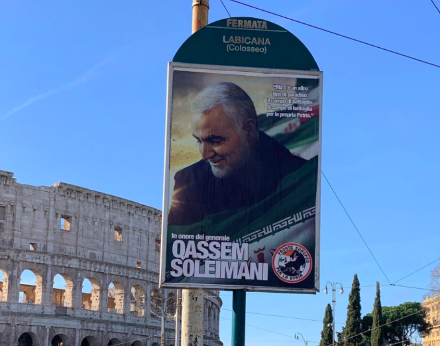A poster of Qassem Soleimani hangs in Rome, Italy. (Twitter)