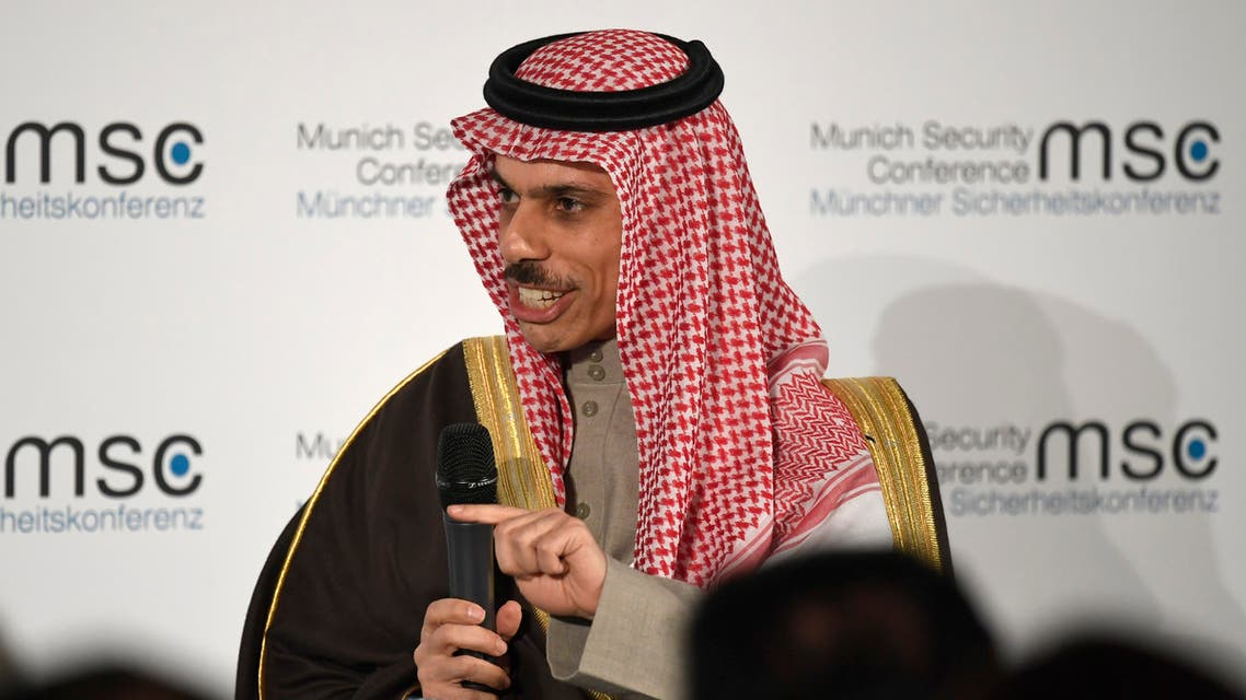 The Foreign Minister of Saudi Arabia Prince Faisal bin Farhan Al Saud attends a panel discussion during the 56th Munich Security Conference (MSC) in Munich, southern Germany, on February 15, 2020. The 2020 edition of the Munich Security Conference (MSC) takes place from February 14 to 16, 2020.