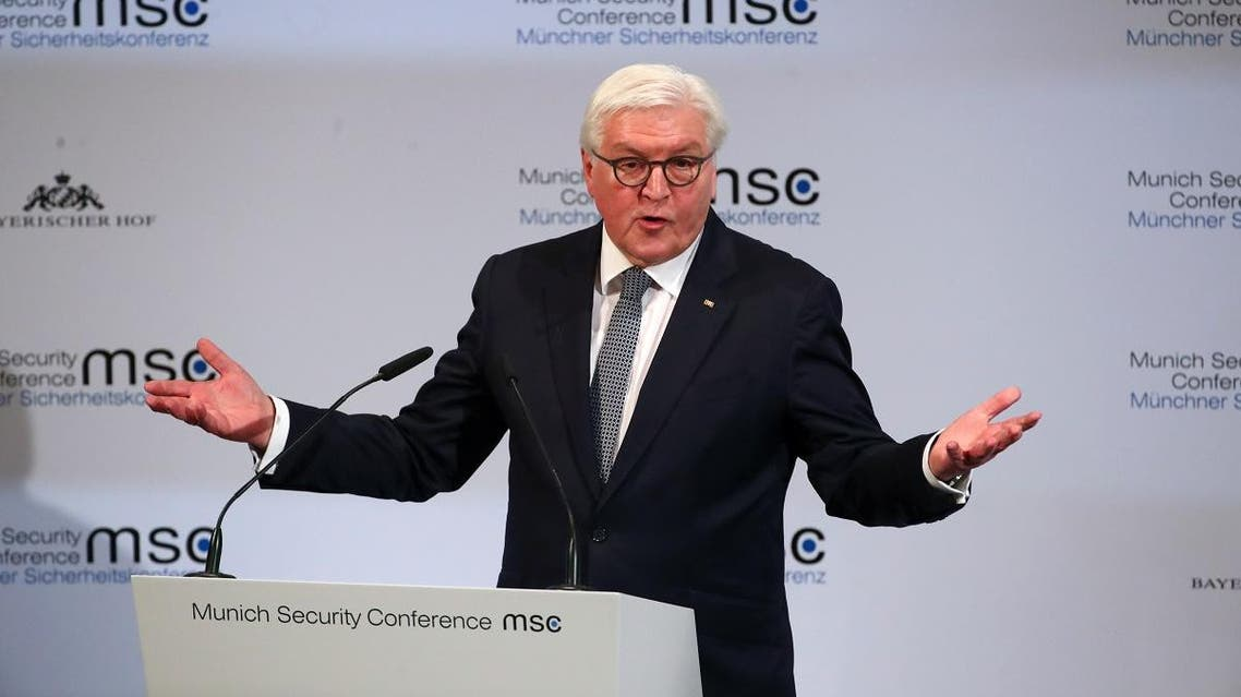 German President Frank-Walter Steinmeier speaks during the Munich Security Conference in Munich, Germany February 14, 2020. (Reuters)