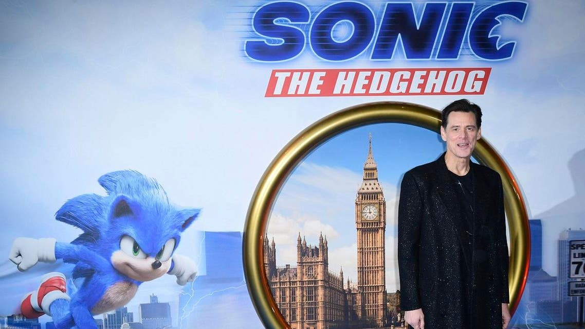 Jim Carrey arrives for a screening of new film Sonic the Hedgehog at a central London cinema. (AP)