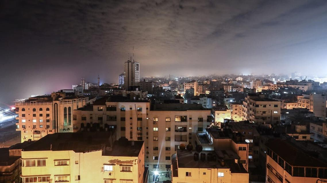 This picture taken early on February 16, 2020, shows a general view from above of Gaza city. (AFP)