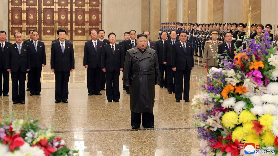 Kim Jong Un visits his father and former leader Kim Jong Il's mausoleum in this undated photo released by North Korea's Central News Agency (KCNA) on February 15, 2020. (KCNA/via Reuters)