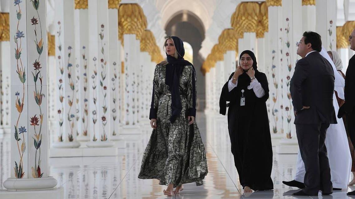 Ivanka Trump visits the Sheikh Zayed Grand Mosque in Abu Dhabi, United Arab Emirates, Saturday, Feb. 15, 2020. (AP)