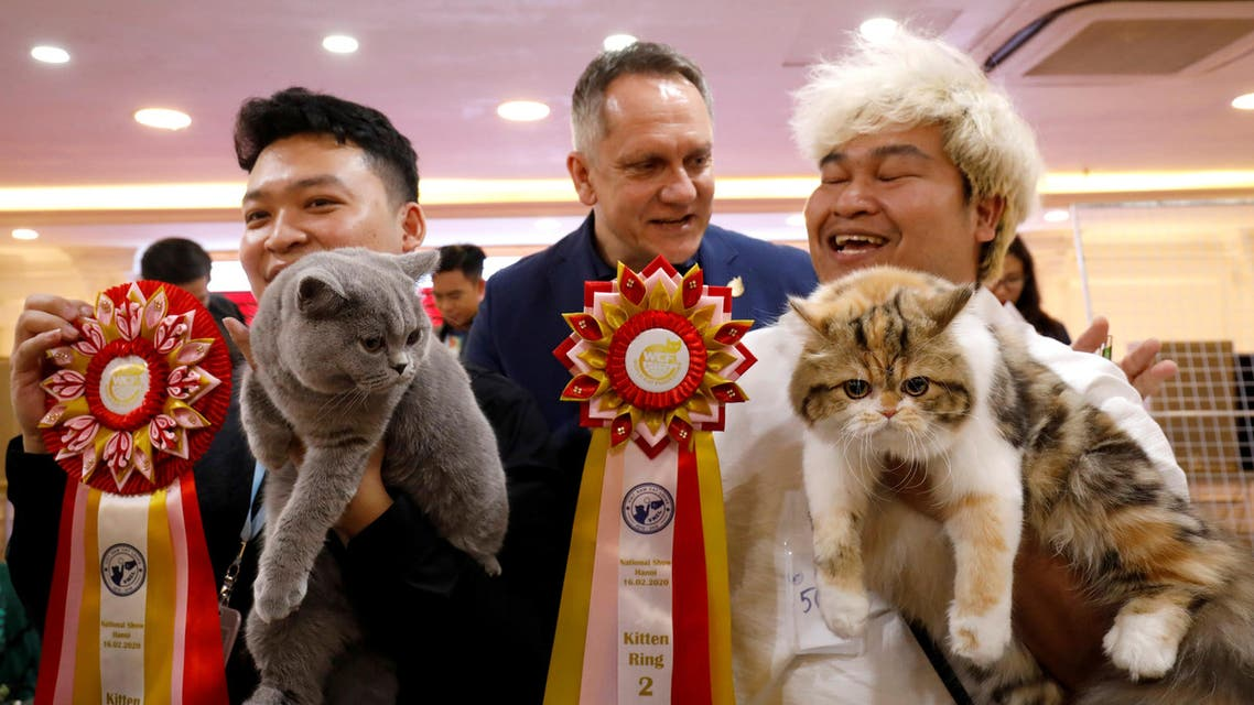 Vice chairman of World Cat Federation Albert Kurkowski presents first title to the cat of Nguyen Xuan Son of Vietnam and second title to the cat of Tawin Prai of Thailand during the Vietnam's first cat show in Hanoi, Vietnam February 16, 2020. REUTERS