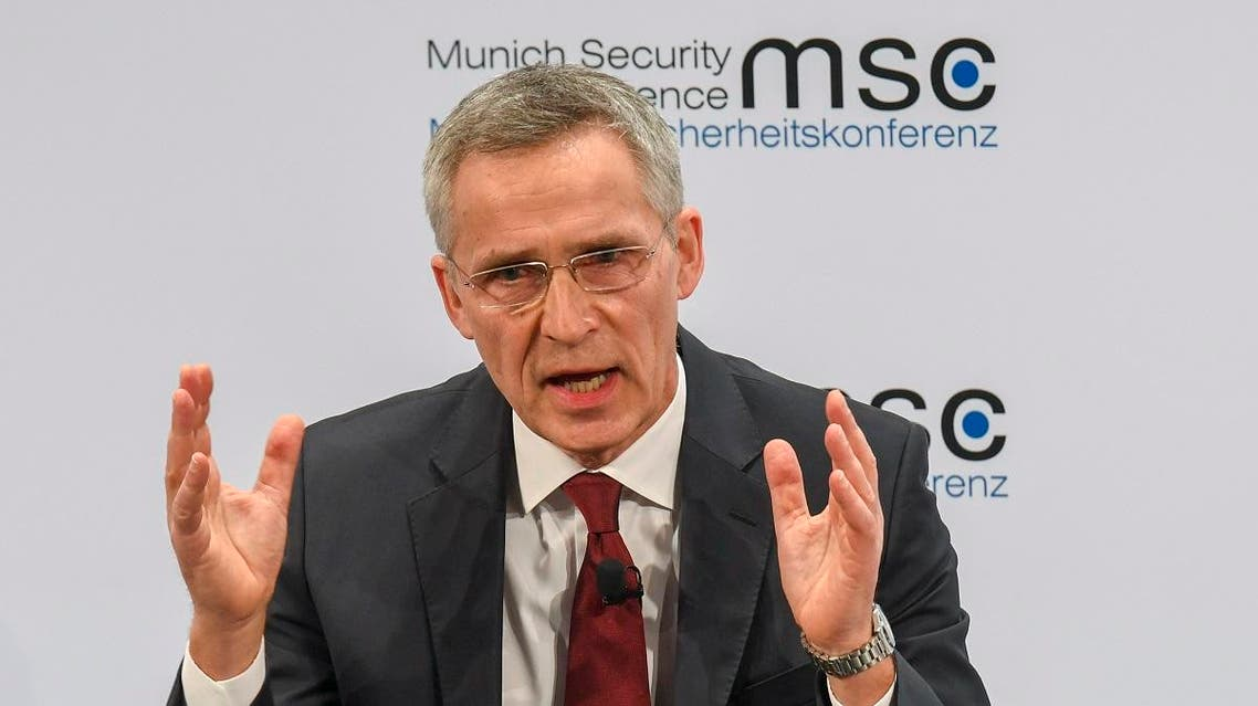 NATO Secretary General Jens Stoltenberg adresses the audience on the podium during the 56th Munich Security Conference (MSC) in Munich, southern Germany, on February 15, 2020. (AFP)